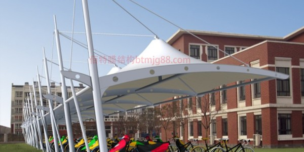 学校膜结构自行车车棚