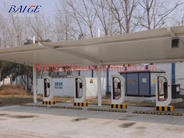 南京膜结构充电桩车棚案例